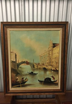 Painting on canvas-River boats