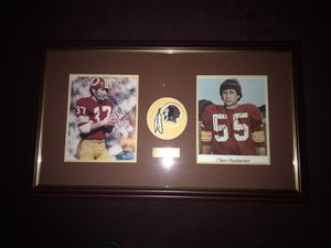 "Washington Redskins ProBowl ""Over The Hill Gang"" Leaders! HOF Linebacker Chris Hanburger & Cornerback Pat Fischer, Very Nice Autographs n Embroidered"