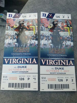 2 TICKETS UVA VS DUKE 10/7/17