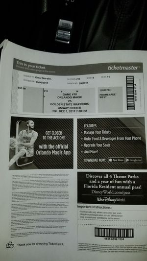 Ticket Orlando Magic vs Golden State warriors