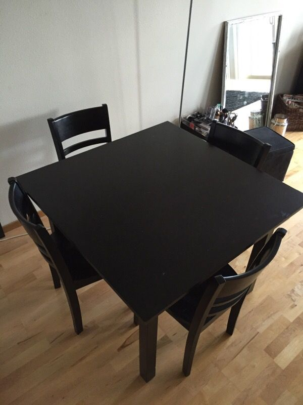 Black square table with 4 chairs furniture in seattle for Furniture pick up seattle
