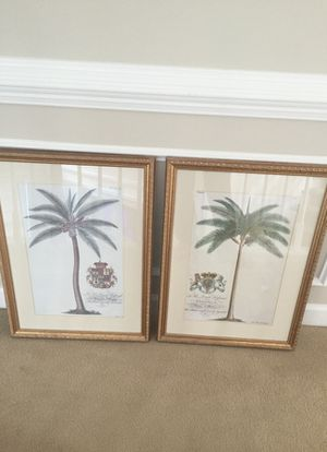"""Set of Two Horchow store palm tree framed prints. 26""""x19"""". High quality framing."""