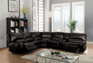 SECTIONAL BLACK POWER RECLINER
