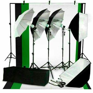 New photo equipment 4 stands 3 umbrellas 2 softboxes 3 backdrops white black green