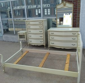 5 piece white French Provencial twin size bedroom set for sale