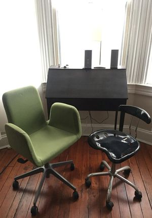 Antique Secretary Desk and Two Modern Chairs