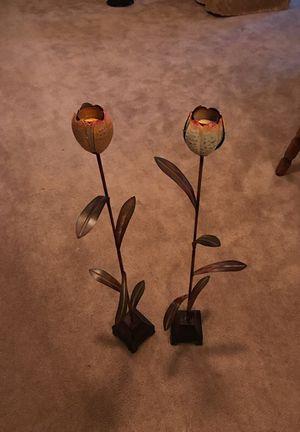 Metal flower tea lights