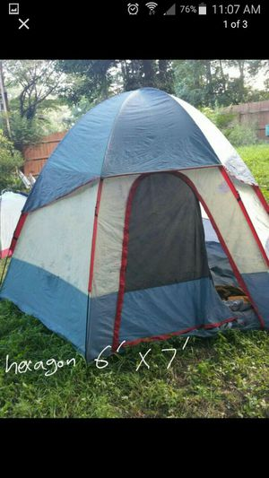Hexagon Tent for camping double layer with bag 6'x7'
