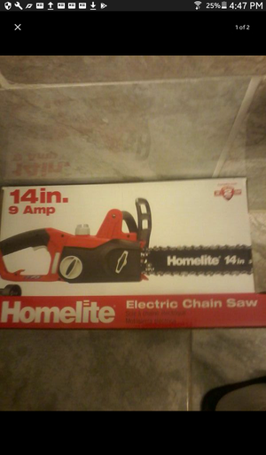 Brand new electric chain saw $65 must go
