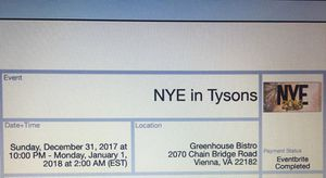 Two Tickets for NYE in Tysons