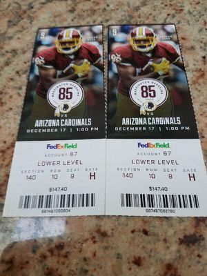 2 Redskins Tickets to Today's Game 1PM Paid $147 ea GOOD SEATS Make an offer Come get'em