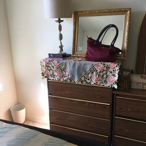 Two wood dressers with mirror $50
