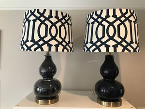 Large Navy Blue Gourd Lamps