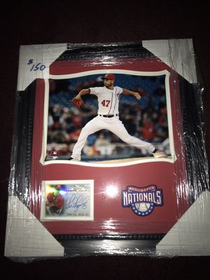 Gio Gonzalez Framed 8x10 Photo w/ Autographed Baseball Card & Washington Nationals Embroidered Patch!