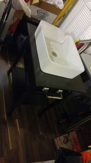 Drop in bathroom sink with base
