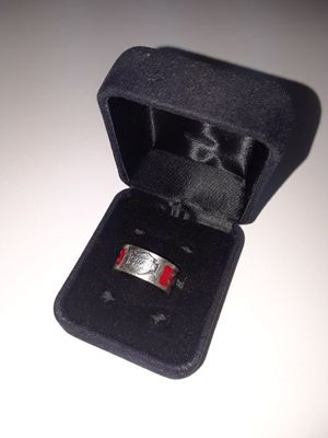 Harley Davidson sterling silver ring with red flames