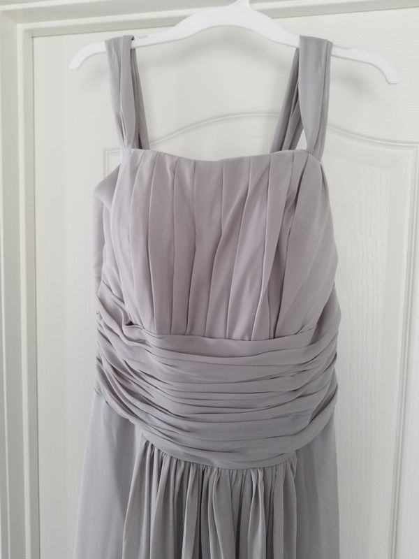 Extra Long Gray Chiffon Prom Formal Dress Size 14 Clothing