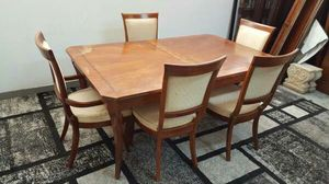 Dining Room Table and 5 Chairs Dark Brown