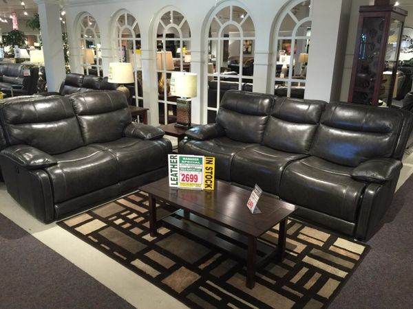 Top grain reclining new leather set sofa and love for Furniture in tukwila