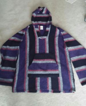 80s Men's Mexican Baja Surfer Skater Hooded Pullover Poncho