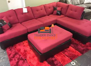 Brand New Red Linen Sectional Sofa + Ottoman
