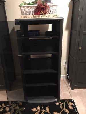 Black Media Cabinet w/ Glass Door on Wheels