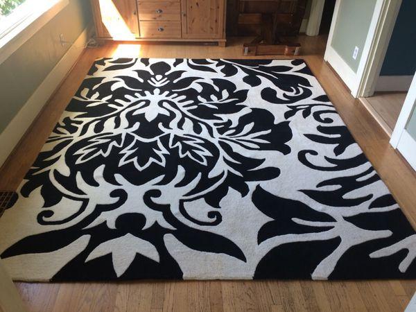 8 X10 Area Rug Horizon Black Amp White 100 Wool Pile