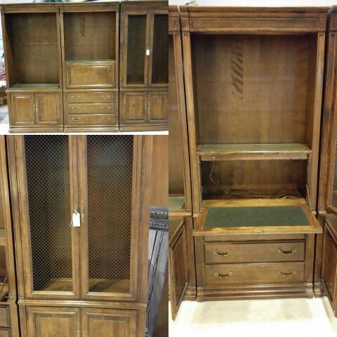 Ethan Allen Large 3 Piece Wall Unit Bookshelf Desk