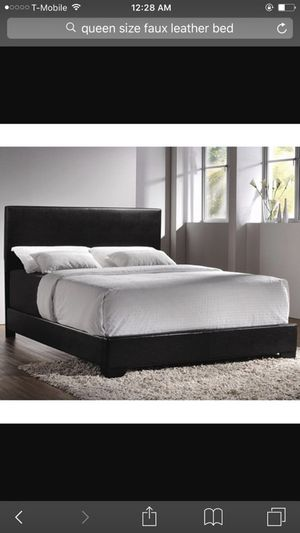 Black Leather bed (Box Spring + Mattress)