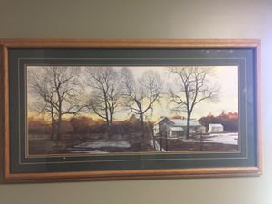 """43"""" x 24"""" wall print in oak frame. Triple matted. I am told it was quite expensive at Sam's art sale. for sale  Bel Aire, KS"""