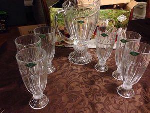ShannoN Crystal by Godinger 24% Lead Crystal Iced Beverage Set Of 6 Glasses & 1 Pitcher Oversized Pitcher Holds 68 OZ / 1.93 L Glasses Hold 1