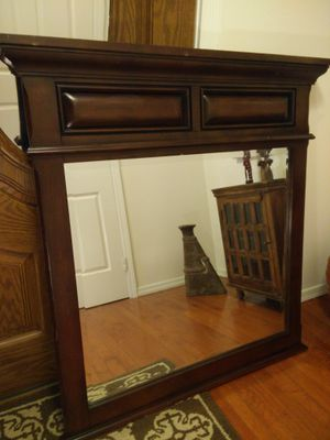 """Like new big solid wood frame mirror in very good condition, pet free smoke free, let me know if you like more pictures, cash only L40""""*H44"""""""