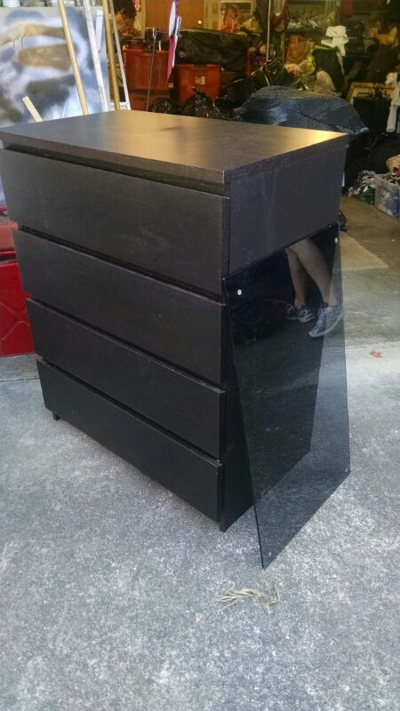 Ikea black 4 drawer dresser with glass topper