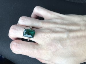 925 Sterling Silver and created emerald ring