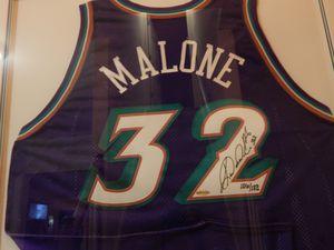 Framed Karl Malone Autographed Utah Jazz Jersey