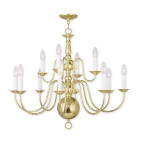 26 inch polished brass chandelier indoor light