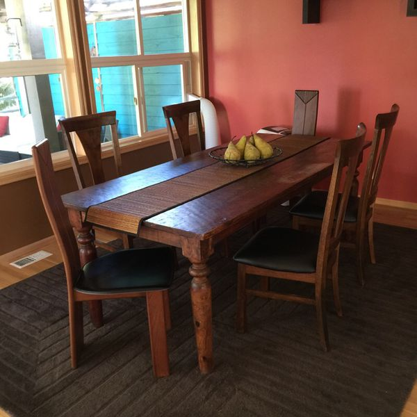 Dining table with six chairs furniture in renton wa for Offer up furniture