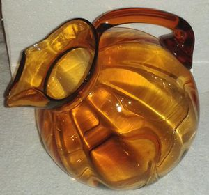 Vintage Amber Glass Tilted Water Pitcher