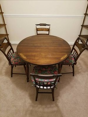 Antique Genuine L. Hitchcock 5 pc Dining Set With Plank Chairs