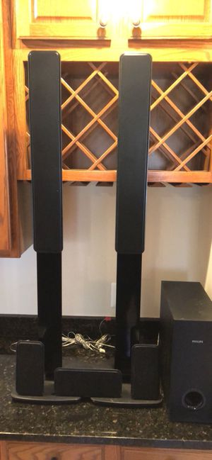 Phillips Speaker System - two towers, one center, two rear and one subwoofer
