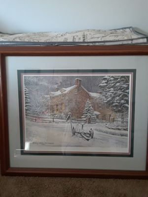 Harry Richardson Print, triple matted. Title Early Snow # 185/900 signed.