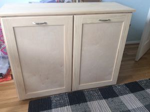 Wood double tip-out trash/recycle cabinet - NEW