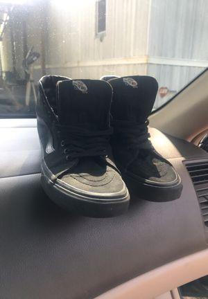 All black sk8 hi / vans