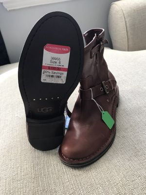 Brand New UGG Women's Brown Fabriza Motorcycle Boot Chestnut Leather, Size 6