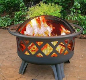 Fire Pit Cooking Grate Hampton Bay Crossfire Steel Wood Burning Durable Heating