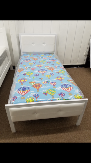 Brand new white color metal platform bed with twin size mattress only $239 total