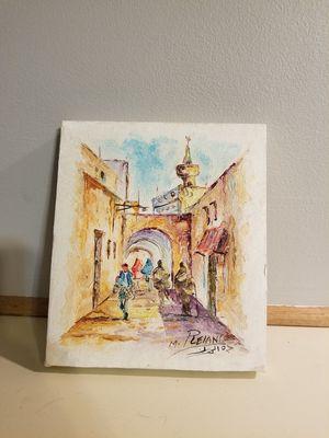 """Watercolor paint of Tuareg city """"an Ancient desert city"""""""