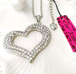 Betsey Johnson Silver crystal heart Pendants chain Sweater chain necklace