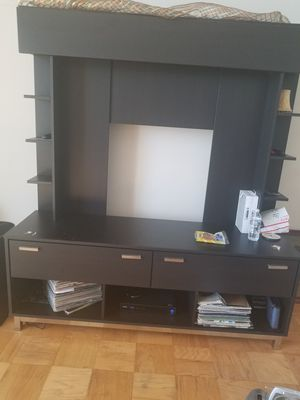 Black TV Stand with shelving