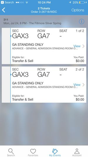 311 ticket (7/24) discounted price must sell